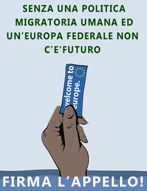 Europa in movimento, logo appello, vignetta Mauro Biani