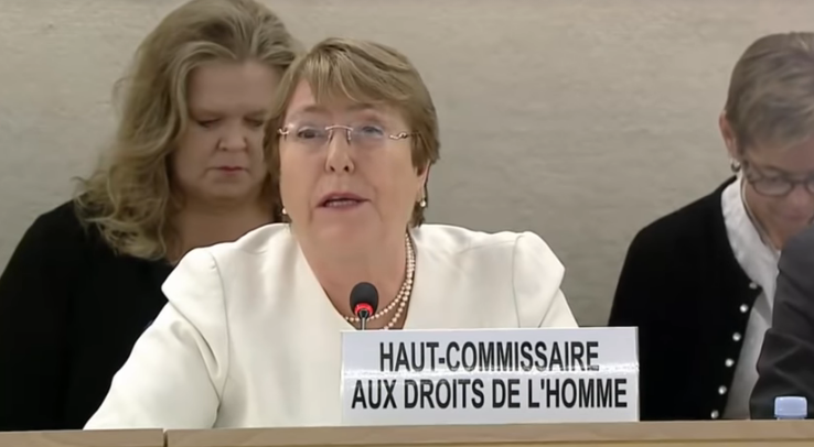 Michelle Bachelet durante il suo intervento a Ginevra, Human Rights Council, 10 settembre 2018